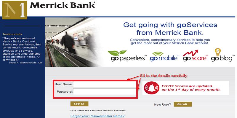 Merrick Bank log In