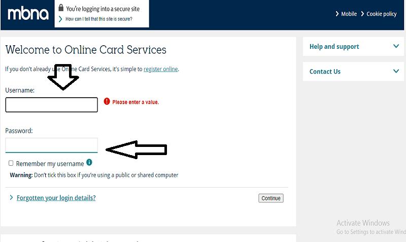 MBNA Credit Card Login
