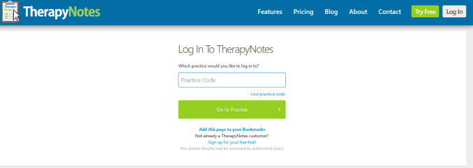 therapy notes login